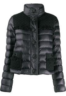 Moncler Tweed Panel Puffer Jacket - Preto