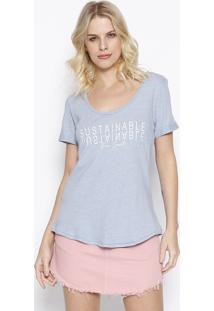 "Camiseta ""Sustainable"" Com Linho - Azul Claro & Branca"