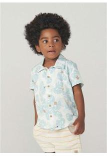 Camisa Hering Manga Curta Em Tecido De Viscose Toddler Masculino - Masculino-Azul