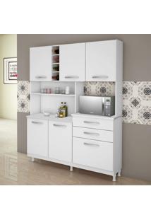 Armário Para Cozinha 5 Portas 3 Gavetas 1 Prateleira Ômega Kaiki Móveis Branco
