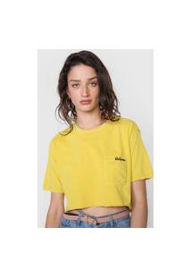 Camiseta Cropped Volcom Dial Amarela