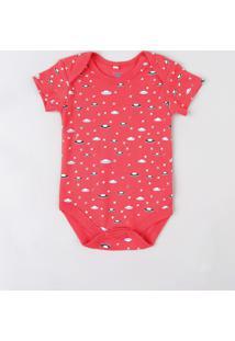 Body Infantil Estampado De Naves Espaciais Manga Curta Gola Careca Vermelho