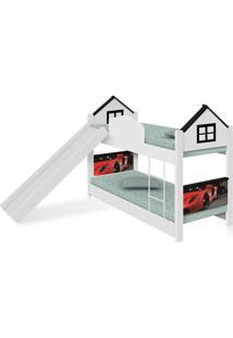 Beliche Infantil Casa Carro Red Com Escorregador E Colchãµes Casah - Branco/Preto - Menino - Dafiti