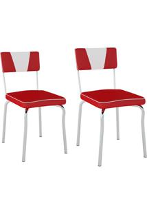 Conjunto Com 2 Cadeiras Retrô Vermelho E Branco