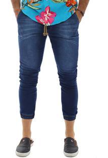Calça Jogger Masculina Jeans Slim Com Lycra Multicolorido