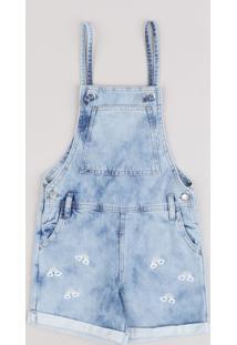 Jardineira Jeans Infantil Com Bordado De Arco-Íris E Bolsos E Barra Dobrada Azul Claro