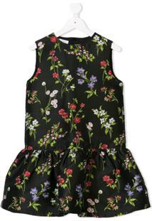 Oscar De La Renta Kids Vestido Floral - Preto