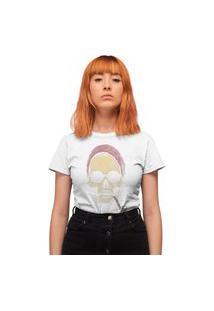 Camiseta Feminina Mirat Hipster Skull Branco