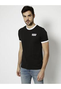 "Camiseta ""Levi'Sâ®"" Com Recortes - Preta & Brancalevis"