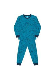 Pijama Bebê Menino Manga Longa Algodão Kamylus 12495 Azul Petróleo