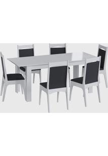 Conjunto Mesa Elast. 6 Cadeiras Branco Móveis Canção