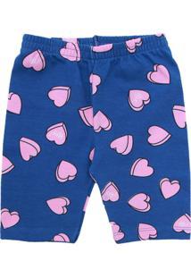 Bermuda Brandili Menina Coração Azul