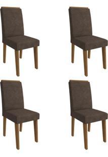 Conjunto Com 4 Cadeiras De Jantar Taís Suede Savana E Cacau