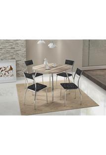 Conjunto Mesa 1504 Branca Cromada Com 4 Cadeiras 1701 Fantasia Preto Carraro