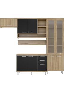 Cozinha Compacta Lanús 9 Pt 3 Gv Argila E Preto