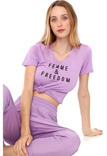 Camiseta Colcci Lettering Lilás