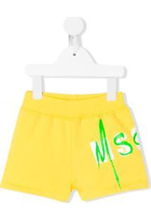 Msgm Kids Short Com Logo - Amarelo