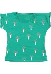Camiseta Fun Friends Kids Menina Liso Verde
