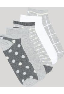 Kit De 5 Meias Feminina Cano Baixo Cinza