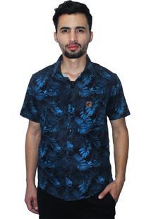 Camisa Estampada Camaleão Urbano Folhagem Costela De Adão Azul