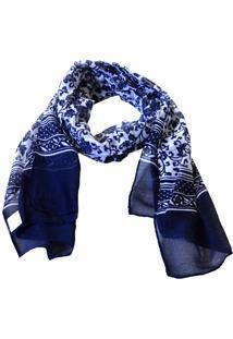 Echarpe Mozzi Floral Azul