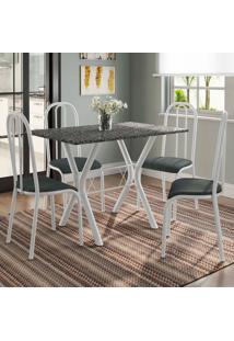 Conjunto De Mesa Miame 110 Cm Com 4 Cadeiras Madri Branco E Mesclado Petróleo
