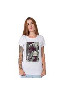 Camiseta Feminina Stoned Bob Marley Five Branco