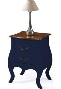 Mesa De Cabeceira 2 Gavetas Elegance Azul Petroleo Tampo Imbuia 50Cm - 59857 - Sun House