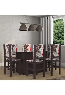 Conjunto De Mesa Com 6 Cadeiras Sirius Tabaco E Floral
