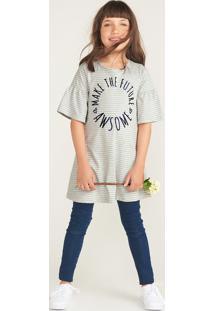 Vestido Infantil Listrado Estampa Com Textura