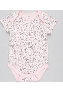 Body Infantil Estampado Floral Manga Curta Rosa Claro