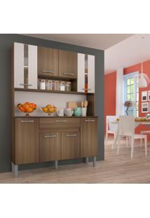 Cozinha Compacta Anie 8 Pt 1 Gv Castanho E Off White