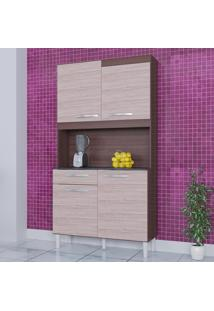 Cozinha Compacta 4 Portas 1 Gaveta Kit Carine 467 Capuccino/Amêndoa - Poquema