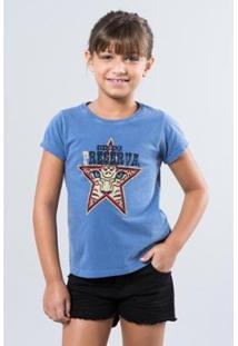 Camiseta Infantil Preserve Reserva Mini Feminina - Feminino-Azul