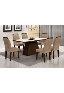 Conjunto De Mesa Luna Com Vidro E 6 Cadeiras Athenas Suede Branco E Chocolate