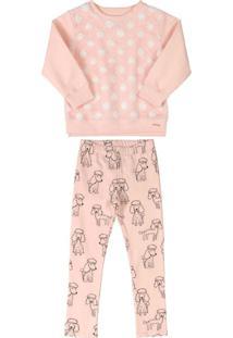 Conjunto Blusão Com Pelo E Calça Rosa