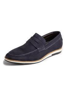 Sapato Loafer Balder Couro Marinho