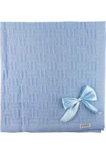 Manta De Tricot Michelle Para Bebê Azul Claro Nuance Com Laços