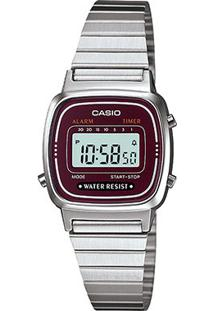 Relógio Casio Vintage Digital La670Wa Feminino - Feminino-Prata+Vinho