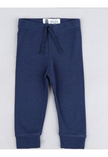 Calça Infantil Básica Em Malha Azul Marinho