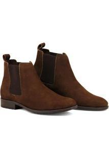 Bota Chelsea Masculina Linha Urban Boots Em Couro Camurça - Masculino-Marrom