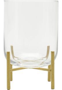 Vaso Com Suporte- Incolor & Dourado- 12,5X8,5X8,5Cm