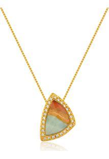 Colar Le Diamond Pedra Natural Dourado