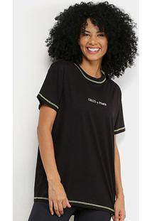 Camiseta Colcci Fitness Detalhe Neon Feminina - Feminino-Preto