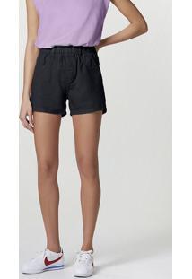 Shorts Feminino Em Sarja Com Cós De Elástico