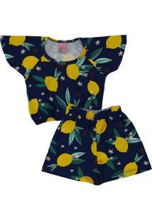Conjunto Infantil 2 Peças Cropped Limão Siciliano Marinho Lumagy