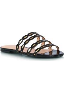 Sandália Rasteira Preta E Ouro Metalizado Com Tiras