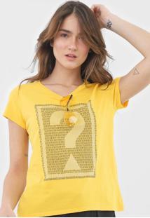 Camiseta Guess Lettering Amarela - Kanui