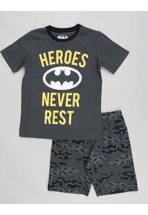 Pijama Infantil Batman Camuflado Manga Curta Cinza
