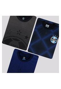 Kit De 3 Camisas Grêmio Dry Azul E Preta